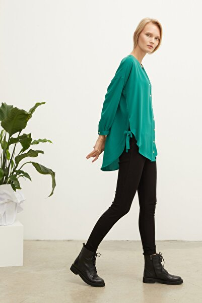 Love My Body Kadın Yeşil V Yaka Bluz