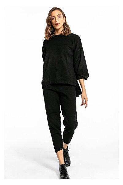 TIFFANY&TOMATO Kadın Siyah Katlama Paça Havuç Pantolon