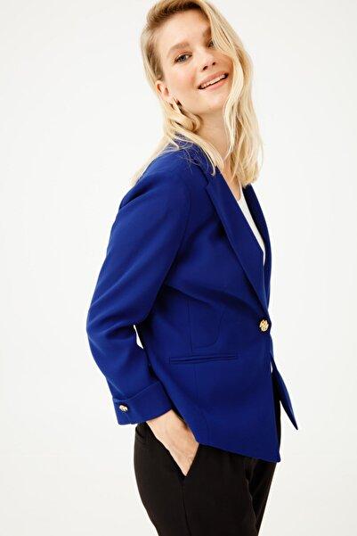Ekol Kadın Lacivert Düz Kesim Ceket