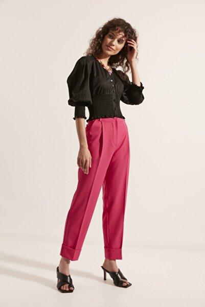 Say Kadın Pembe Önü Pileli Double Paça Pantolon
