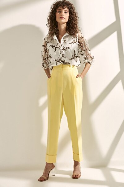 Say Kadın Sarı Önü Pileli Double Paça Pantolon