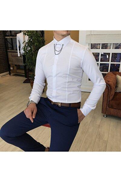 TerziAdemAltun Erkek Saten Beyaz Italyan Kesim Slim Zincirli Gömlek T4091