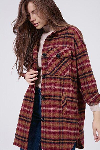 Y-London Kadın Bordo Ekoseli Uzun Oduncu Gömlek Ceket Y20W176-11228-1