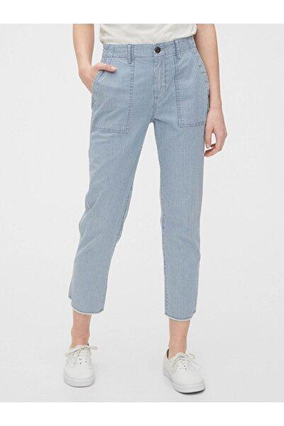 GAP Kadın Mavi High Rise Utility Khaki Pantolon