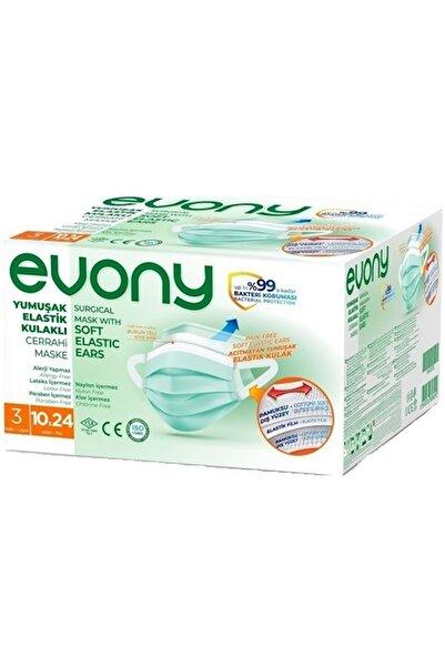 Evony 3 Katlı Filtreli Burun Telli Cerrahi Maske 240 Lı Set (24pk*10) (yumuşak Elastik Kulaklı)