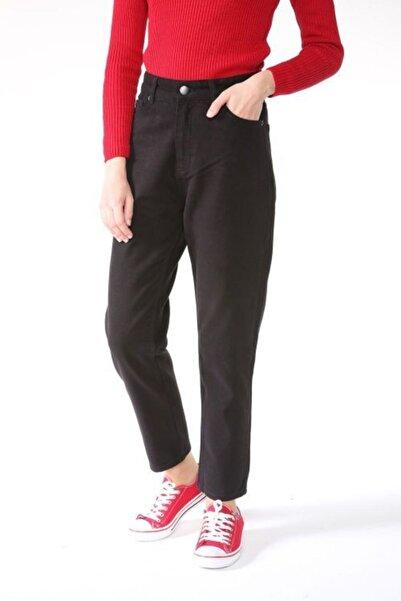ALLDAY Siyah Doğal Kumaş Mom Pantolon