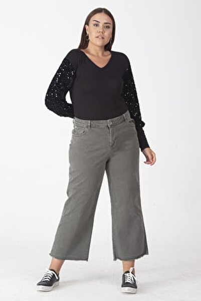 Kadın Haki Pamuklu Kumaş Paça Pis Dikişli Pantolon 65N19162