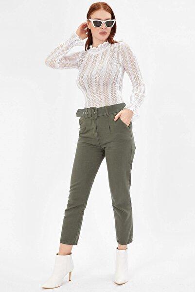 Arma Life Kadın Haki Kaplama Kemerli Gabardin Pantolon