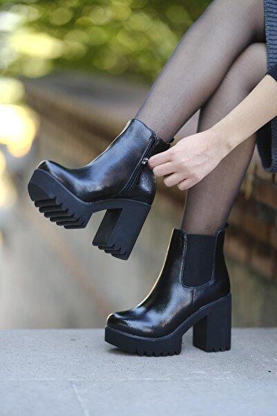 Oksit Kadın Siyah Florin Yüksek Topuklu Bot