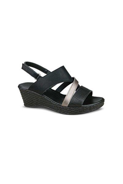 Ceyo Kadın Siyah Çapraz Bantlı  Sandalet