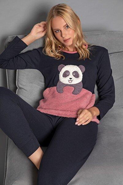 STRAWBERRY Kadın Lacivert Pamuklu Interlok Pijama Takimi