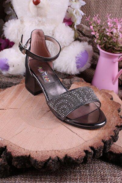 Akıllı Şirin Kız Çocuk Platin Bilekten Bağlamalı Topuklu Taş Işlemeli Genç  Ayakkabı