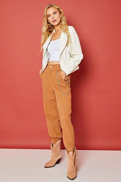 Arma Life Kadın Sütlü Kahverengi Zincirli Gabardin Pantolon -