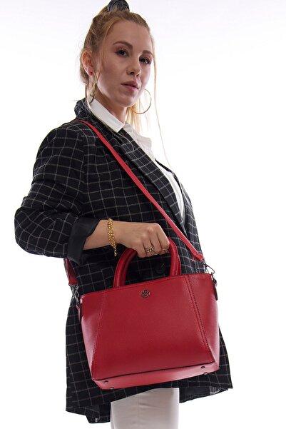 Kadın Kırmızı Fermuarlı Bölmeli Askılı El ve Omuz Çantası Fb3018