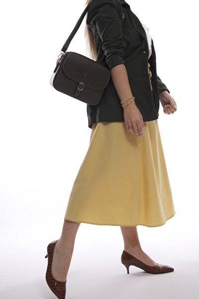 Kadın Haki Fermuarlı Kapaklı Askılı Çanta