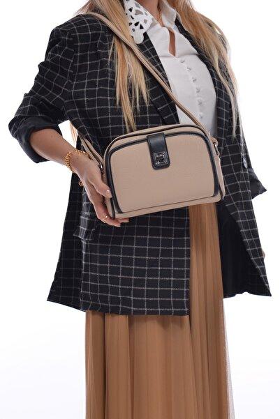 Bej Kadın Çok Cepli Kartlıklı Askılı Çanta Fb3008