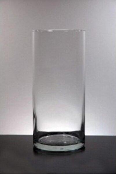 GLASSY Silindir Cam Vazo 19 Çap 40 Cm