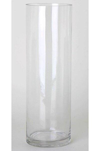 GLASSY Silindir Cam Vazo (15cm Çap-40cm Yükseklik)