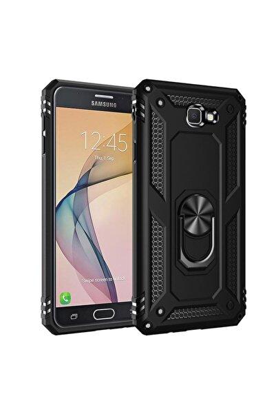 Fibaks Samsung Galaxy J7 Prime Kılıf Armor Serisi Vega Tank Zırh Metal Yüzüklü Standlı