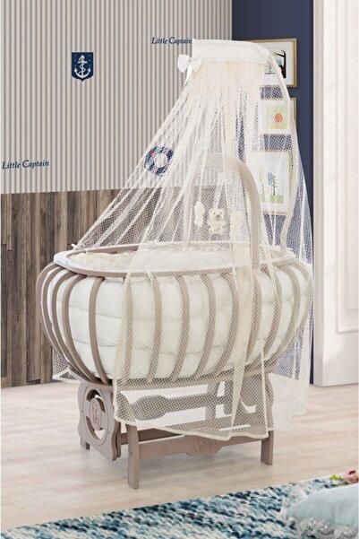 Setay Beşik, Mdf Lux Bombeli Sepet Beşik Oyuncaklı Kahverengi + Yatak + Cibinlik, Bebek Odası