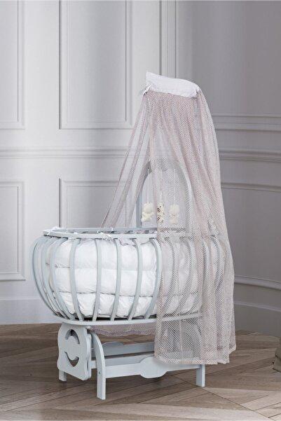 Setay Beşik, Mdf Lux Bombeli Sepet Beşik Oyuncaklı Gri + Yatak + Cibinlik, Bebek Odası