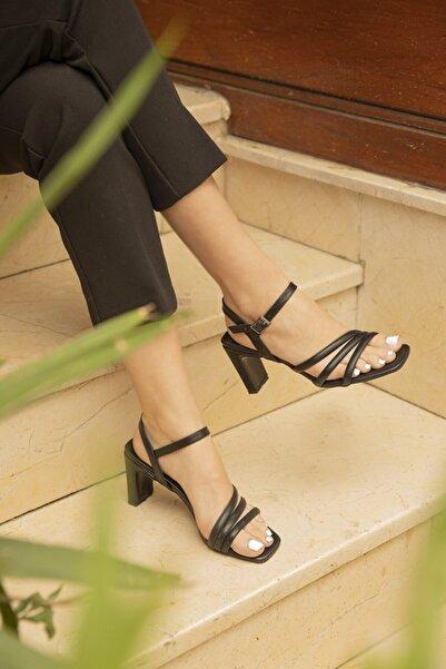 STRASWANS Brian Bayan Topuklu Deri Sandalet Siyah