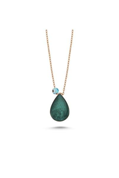 Starlight Diamond Damla Model Yeşil Mineli Nazar Dualı Gümüş Kolye