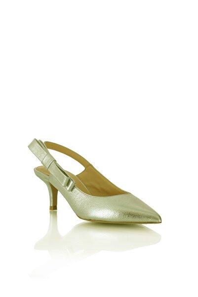 974 100 Krıstal Altın R4203 Kadın Ayakkabı-(6 Cm)