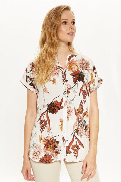 Kadın Kiremit Baskılı Gömlek 0SL430Z8