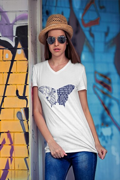 Tshigo Iconic Butterfly V Yaka Kadın T-shirt