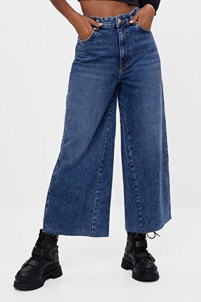 Bershka Kadın Lacivert Culotte Jean