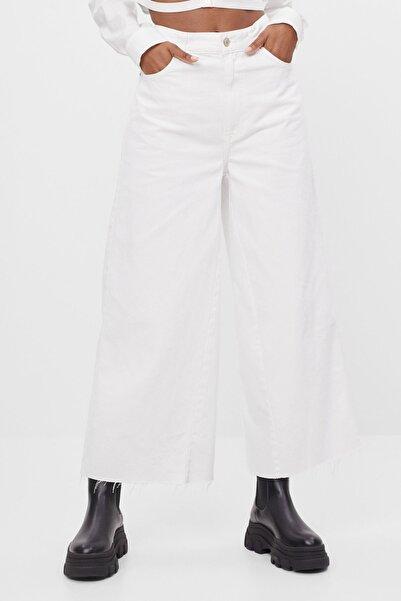 Bershka Kadın Beyaz Culotte Jean