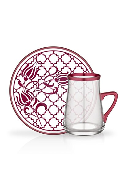 Glore Kırmızı Kulplu Çay Bardağı Seti 12 Parça