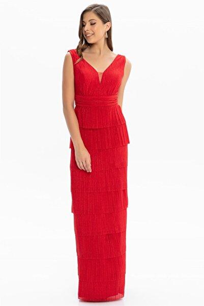 Abiye Sarayı Kadın Kırmızı Bel ve Göğüs Detaylı Kat Kat Uzun Abiye