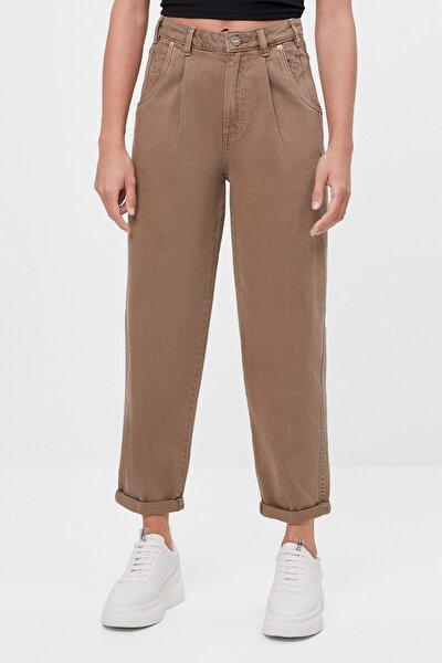 Bershka Kadın Kum Rengi Kıvrık Paçalı Slouchy Pantolon