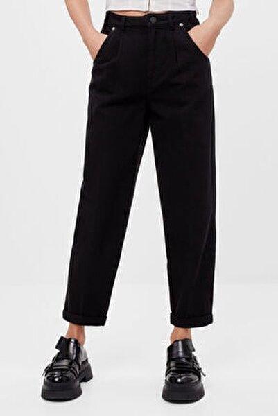 Kadın Siyah Kıvrık Paçalı Slouchy Pantolon