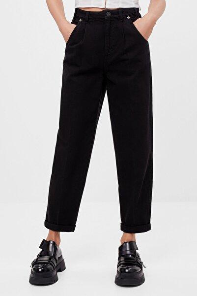 Bershka Kadın Siyah Kıvrık Paçalı Slouchy Pantolon