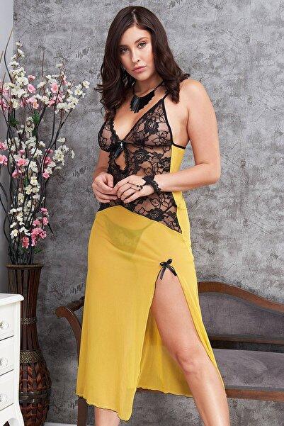 EMINNA Kadın Sarı Gecelik Derin Yırtmaçlı Fantazi Giyim