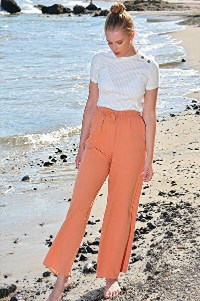Trend Alaçatı Stili Kadın Tarçın Beli Lastikli Salaş Pantolon ALC-X4587