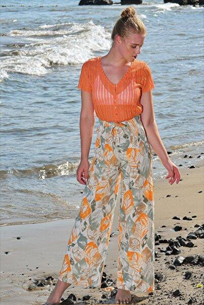 Trend Alaçatı Stili Kadın Bej Beli Lastikli Salaş Pantolon ALC-X4587