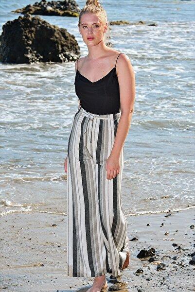 Trend Alaçatı Stili Kadın Gri Beli Lastikli Salaş Pantolon ALC-X4587