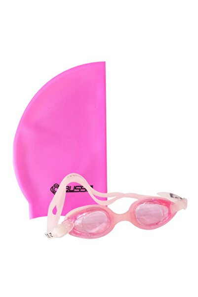 BUSSO Pembe Yüzme Seti Çocuk Yüzücü Gözlüğü ve Pembe  Silikon Bone