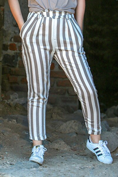 Madmext Kadın Bej Krem Mad Girls Çizgili Pantolon Mg623