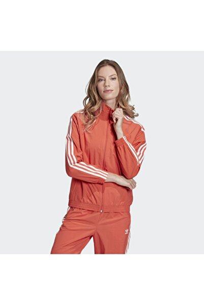 Kadın Turuncu Spor Ceket Nylon Track Top