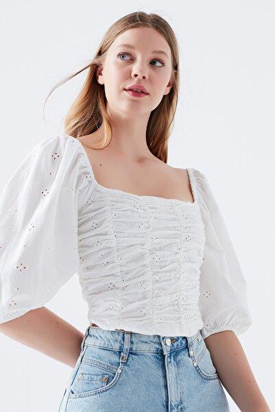 Mavi Kadın Balon Kollu Beyaz Bluz 122605-32158
