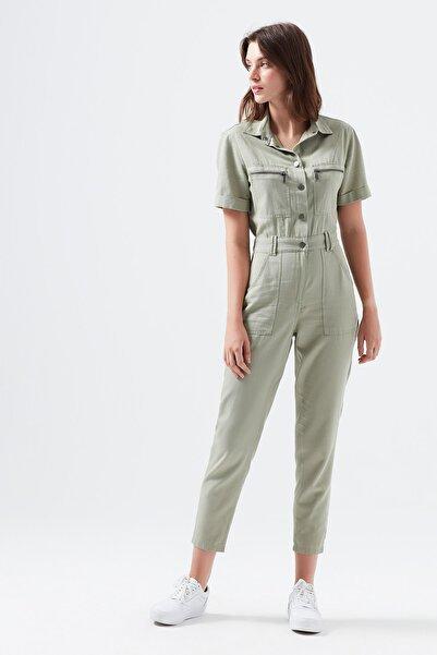 Kadın Cepli Yeşil Tulum 101259-32468