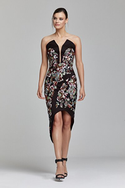 RENGIN Saten Bantlı Çiçek Desen Payetli Elbise