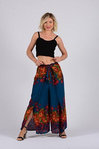 Gezgin tekstil ve aksesuar Kadın Tavus Kuşu Desenli Rayon Şalvar