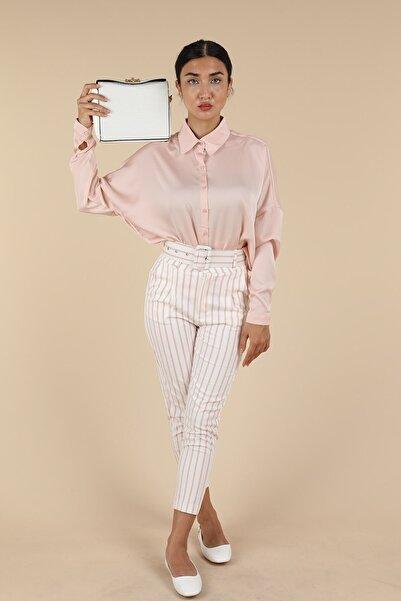 Oblavion Kadın Pembe Çizgili Pantolon