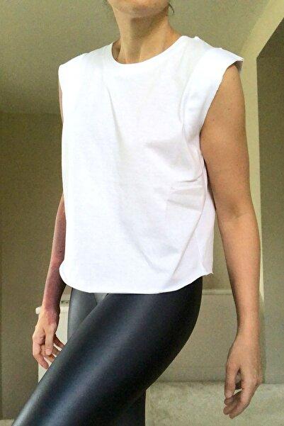 BASIC&CO Kadın Beyaz Kolsuz Spor Tshirt